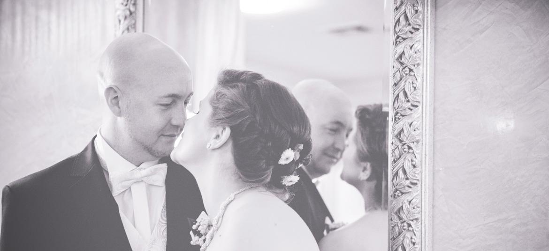 schwarz weißes Hochzeitsfoto Göhren