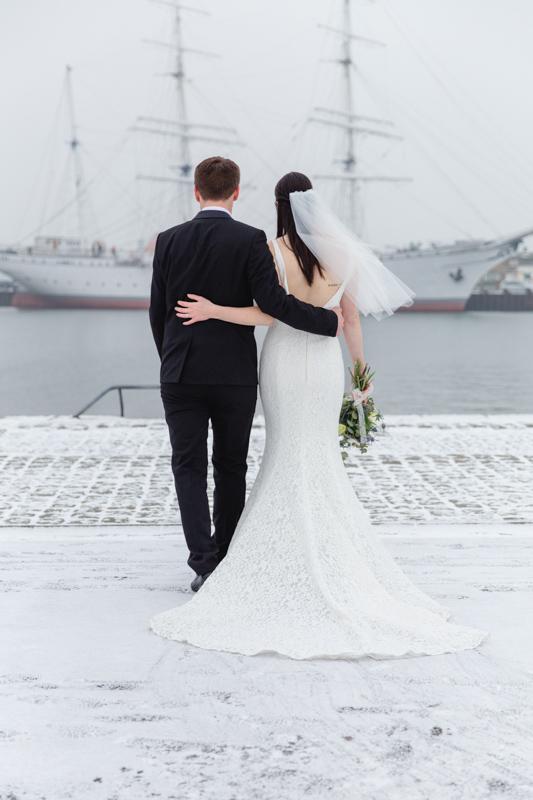 Brautpaarshooting am Stadthafen von Stralsund.
