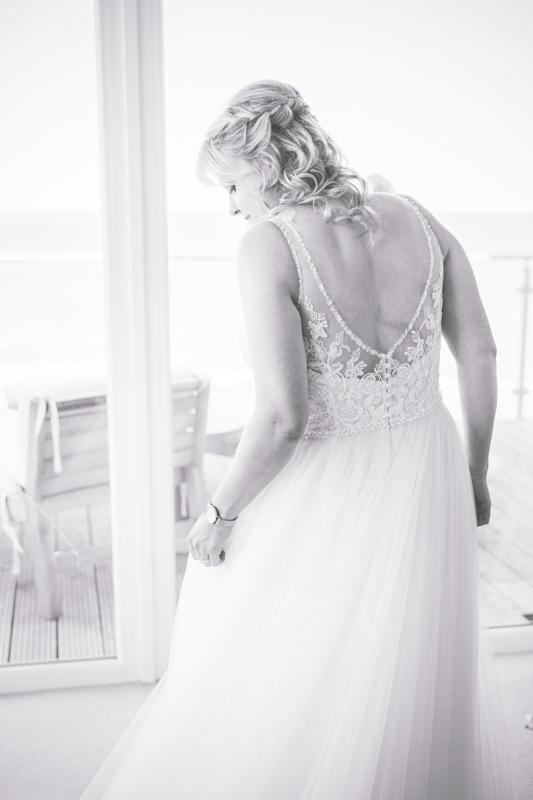 Braut in ihrem Hochzeitskleid.