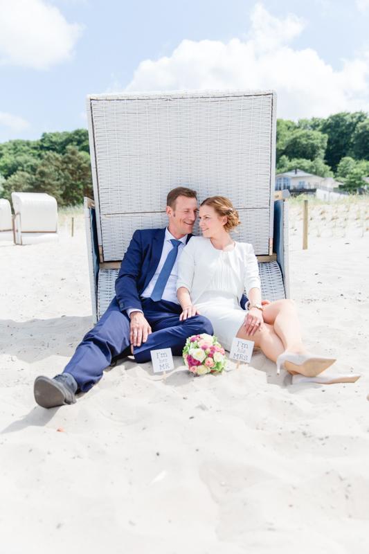 Hochzeitsfotos am Strand.