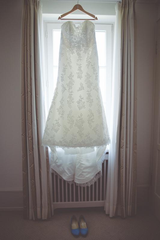 Hochzeitsfoto des Brautkleides.