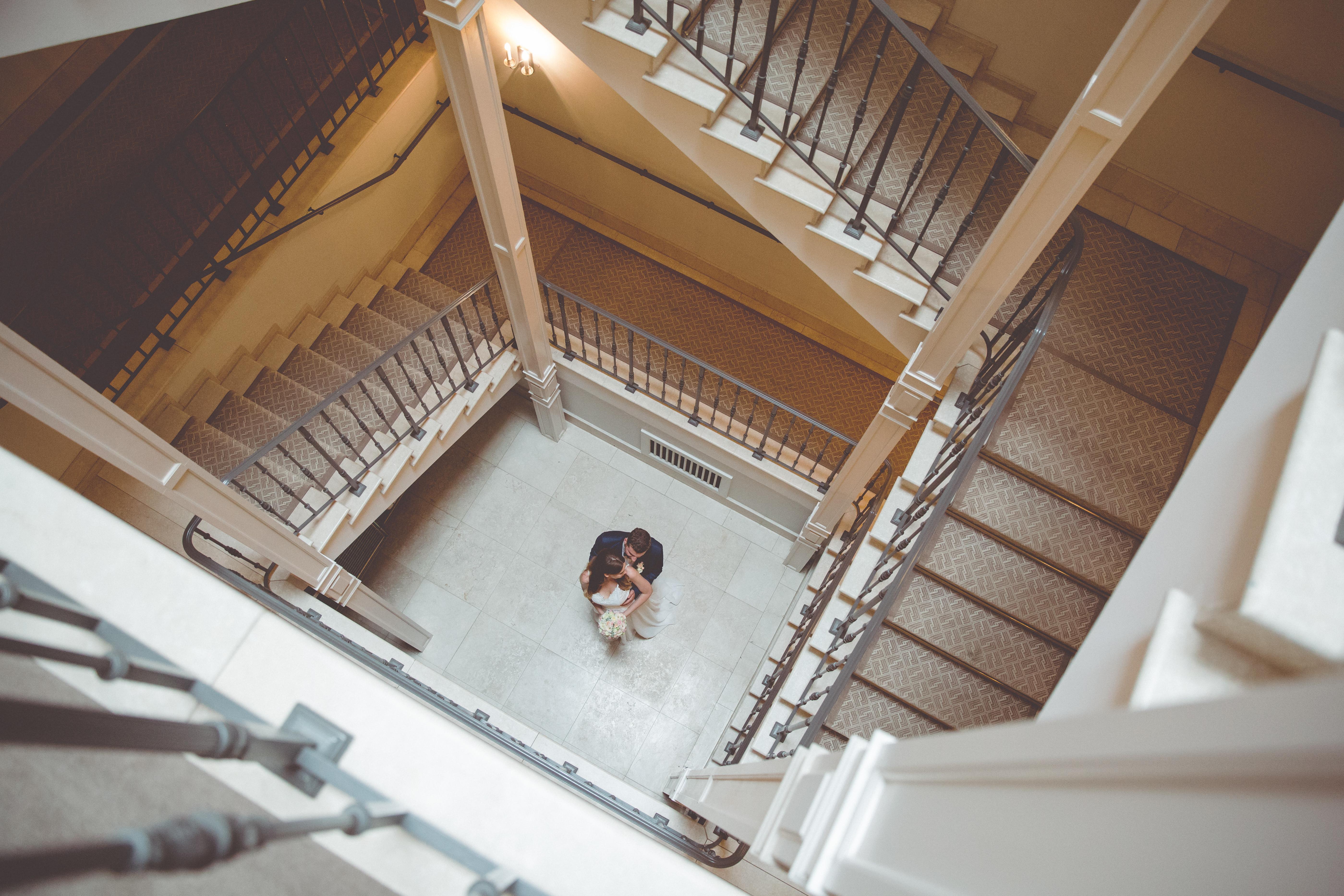 Hochzeitsfoto von oben.