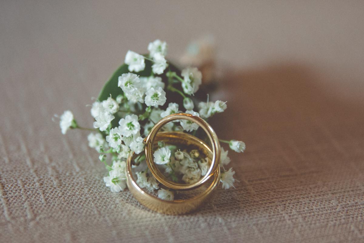 Hochzeitsfoto der Eheringe.