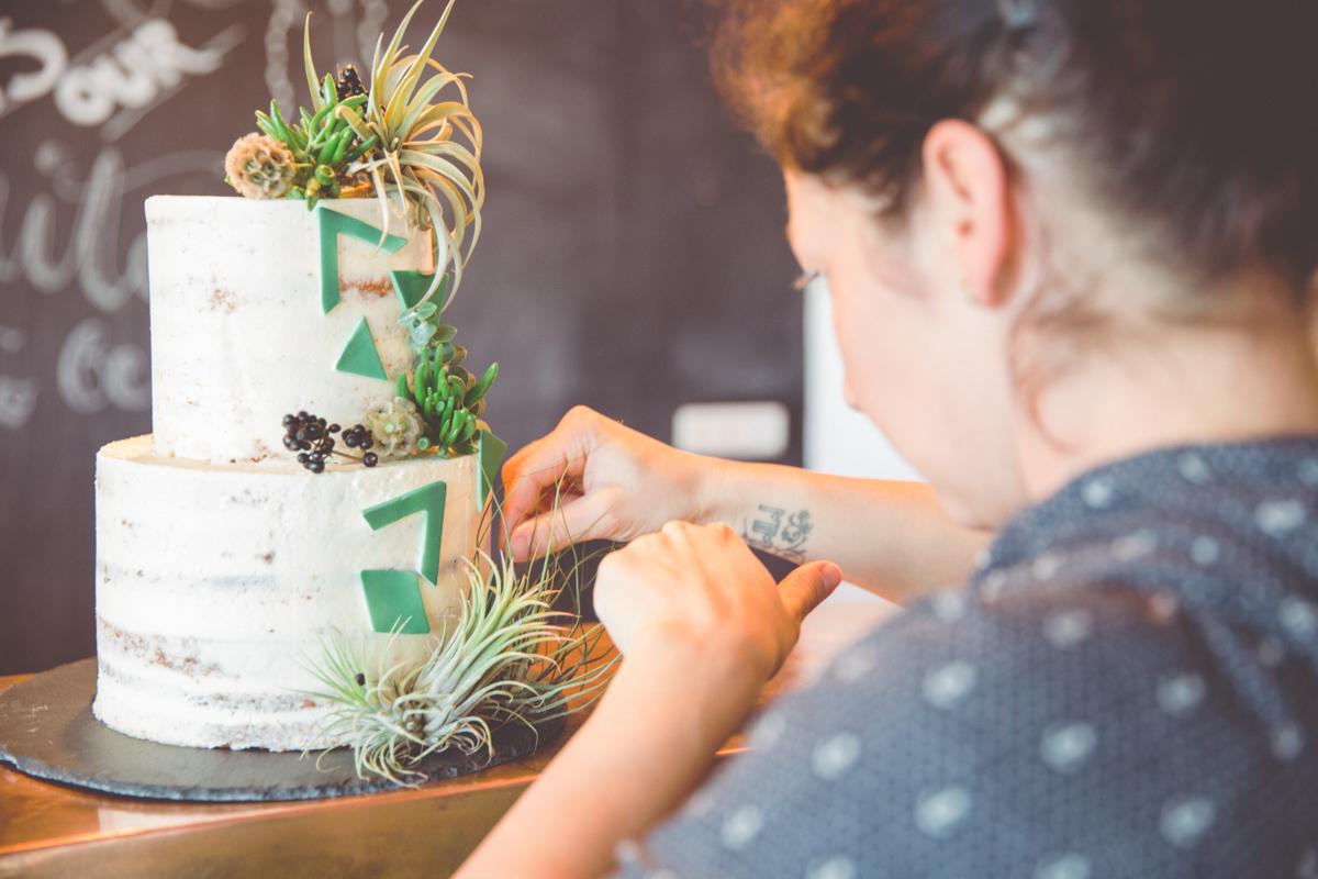 Hochzeitsfoto der Torte.