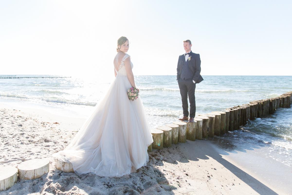 Fotoshooting mit Brautpaar an der Ostsee.