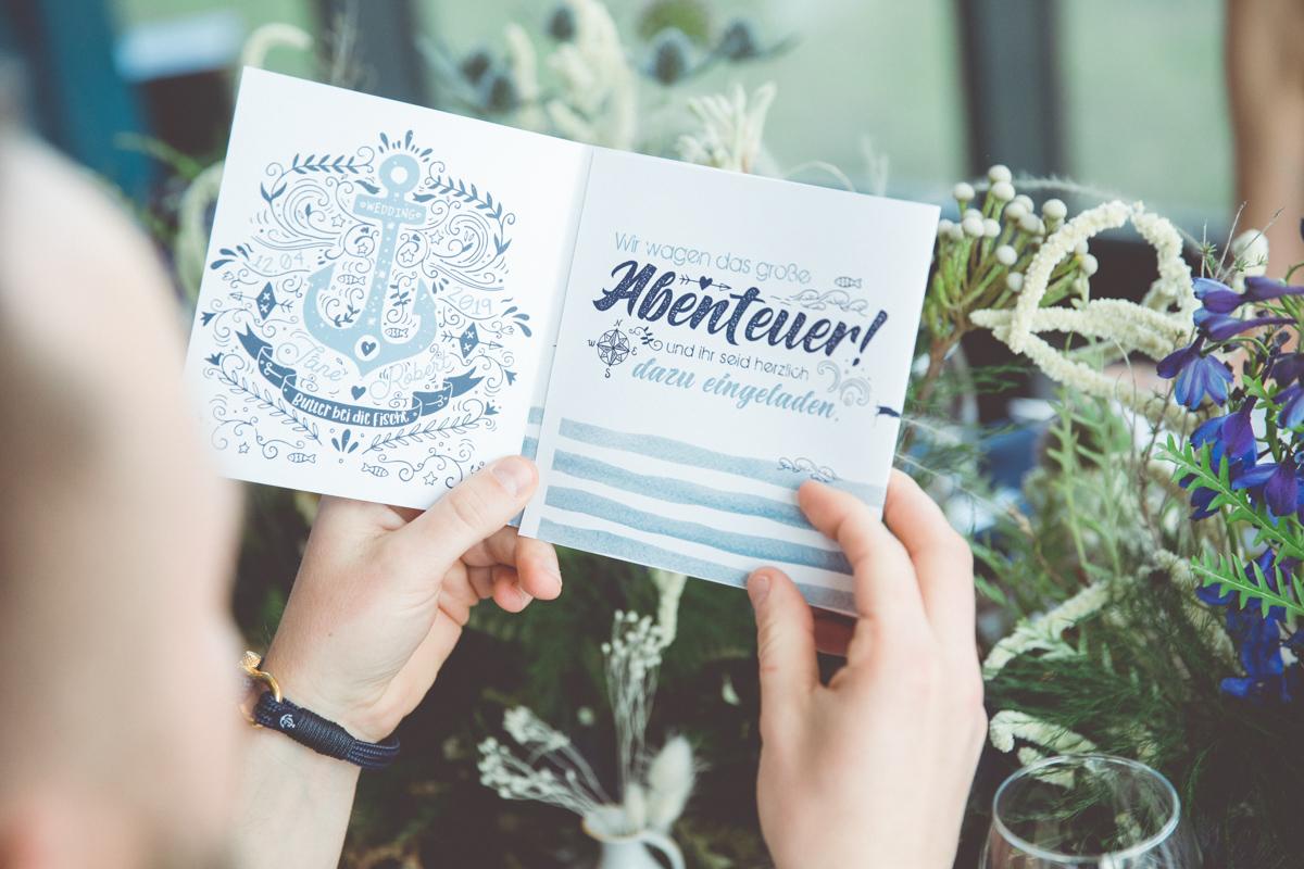Maritime Hochzeitseinladungskarten.