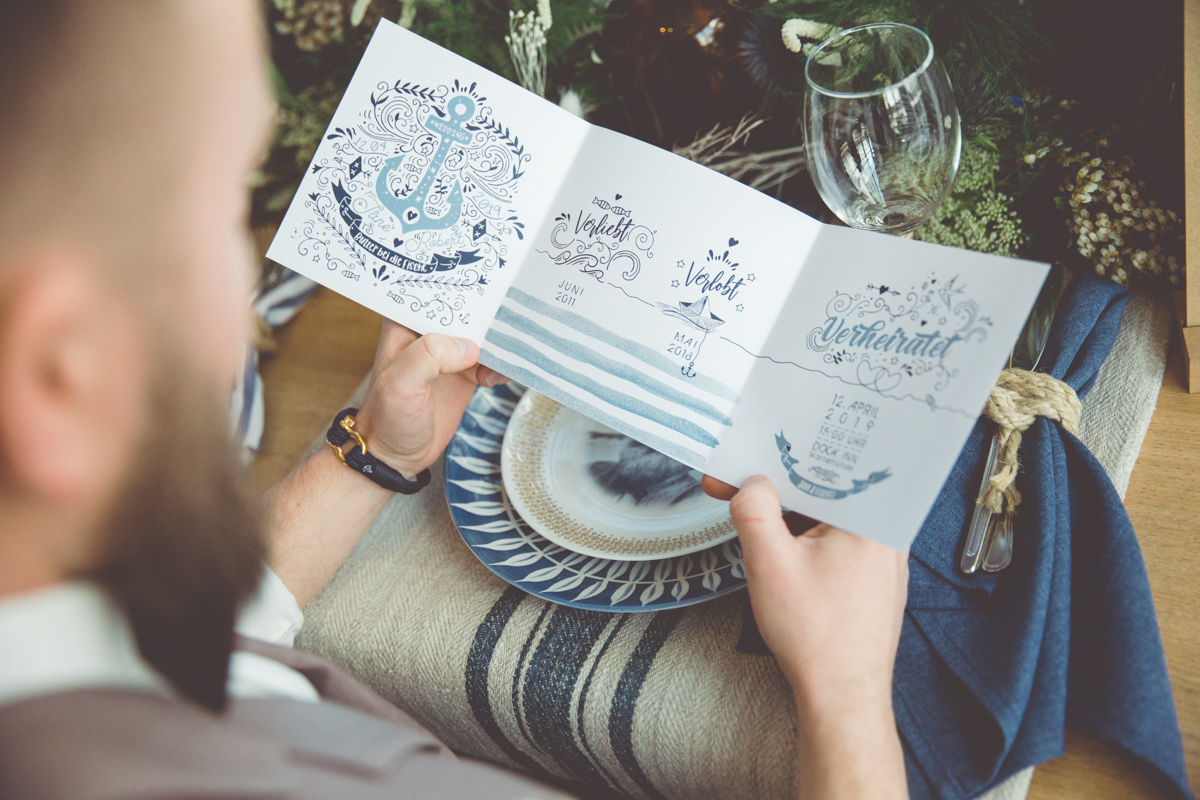 Hochzeitseinladungskarten für maritime Hochzeiten.